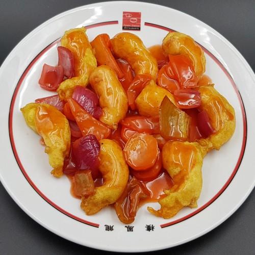 Gambas con salsa agridulce
